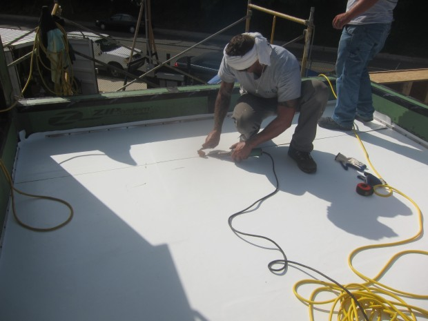 hot air welding the membrane on the roof